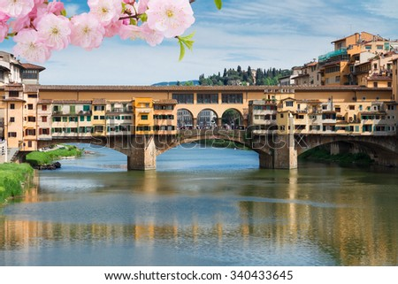 famous bridge Ponte Vecchio over river Arno at spring, Florence, Italy
