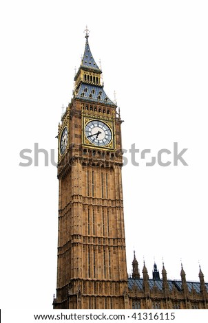 "Famous British clock tower ""Big Ben"" isolated on white"
