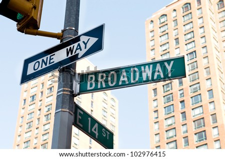 Famous broadway street signs in downtown New York #102976415