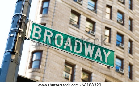 Famous broadway street signs in downtown New York #66188329
