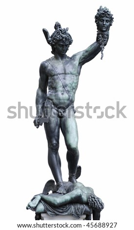 Famous bronze statue of Perseus holding head of Medusa by Benvenuto Cellini is standing on Loggia dei Lanzi, Florence, Italy. Isolated on white