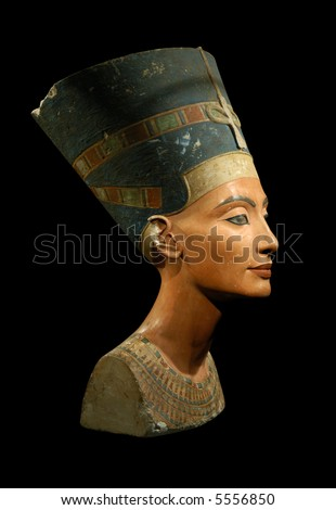 Famous bust of Queen Nefertiti isolated on black