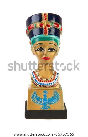 Famous buste from Nefertiti in Egypt on white background