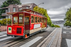Famous Cable Car of San Francisco, standing at amazing viewpoint on Alcatraz National Park, California USA