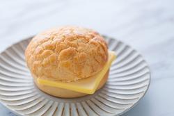 Famous Cantonese cuisine, cantonese bread Pineapple bun,bolo pao, placed on a plate