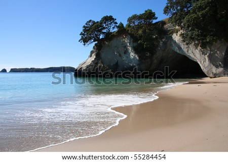 Famous Cathedral Cove at Coromandel peninsula. New Zealand, North Island.