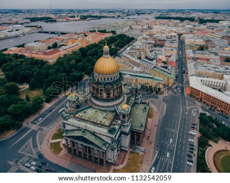 Famous Cathedral in St Petersburg on Isaac Square. Aerial view. Sights for tourists. Russian monuments and places of interest #1132542059