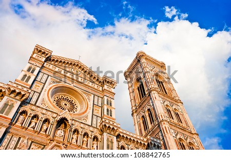 Famous Cathedral Santa Maria Del Fiore with Giotto's Campanile at sunset on Piazza del Duomo in Florence, Tuscany, Italy