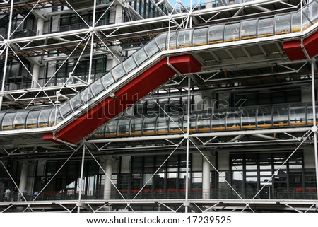 Famous Centre Georges Pompidou in the Beaubourg area of the 4th arrondissement of Paris. It houses public library and Museum of Modern Art.