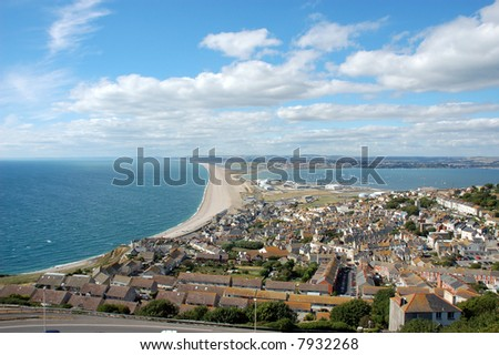 Famous Chesil beach near portland in Weymouth, Dorset, Southern England