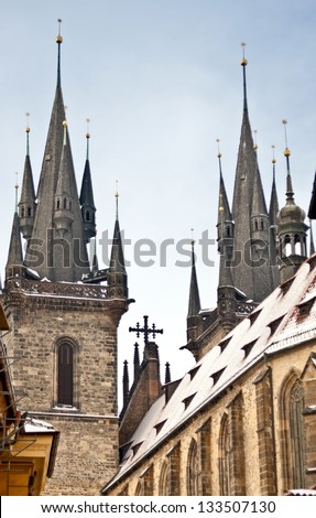 Famous Church of our lady before Tyn in Prague, Czech Republic