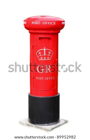 Famous classic red London post box isolated on white
