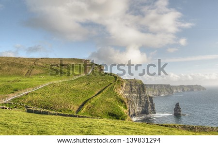 famous cliffs of moher , county clare, ireland - stock photo