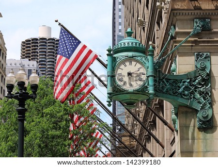 Famous clock in downtown Chicago
