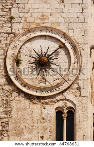 Famous clock tower in historical Split, Croatia