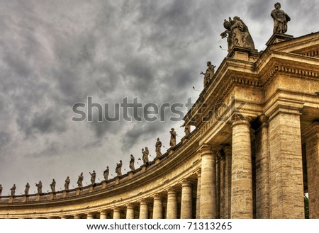 Famous colonnade of St. Peter's Basilica in Vatican, Rome, Italy. HDR image.