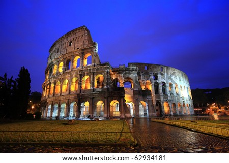 Famous Colosseum in Rome , Italy at twilight