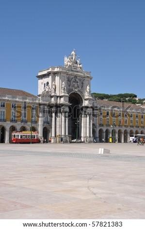 famous Commerce Square also known as Terreiro do Paco in Lisbon, Portugal