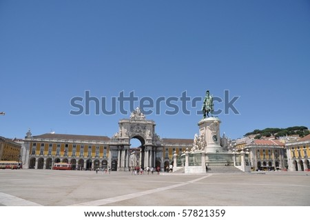 famous Commerce Square also known as Terreiro do Paco in Lisbon, Portugal (statue of King Jose I in the center)