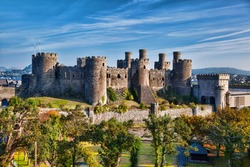 Famous Conwy Castle in Wales, United Kingdom, series of Walesh castles