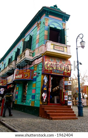 Famous corner of Caminito - La boca district of Buenos Aires