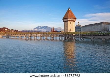 Famous covered wooden footbridge in Lucerne(Luzern), Switzerland