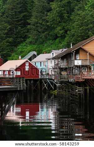 Famous Creek Street in Ketchikan, Alaska.