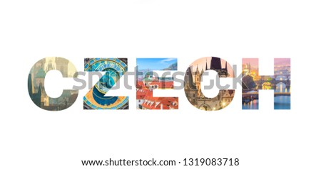 Famous Czech landmarks in photo collage, Letters CZECH isolated on white background, popular touristic locations