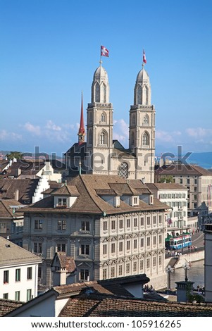 """Famous double-headed """"Grossmunster"""" cathedral in Zurich, Switzerland"""