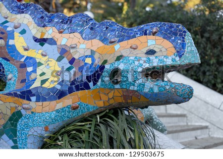 Famous Dragon sculpture in Park Guell, Barcelona, Catalonia.
