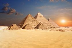 Famous Egyptian Pyramids of Giza, beautiful view