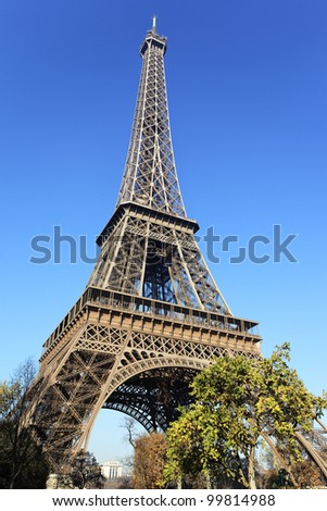 famous Eiffel Tower and trees in Paris