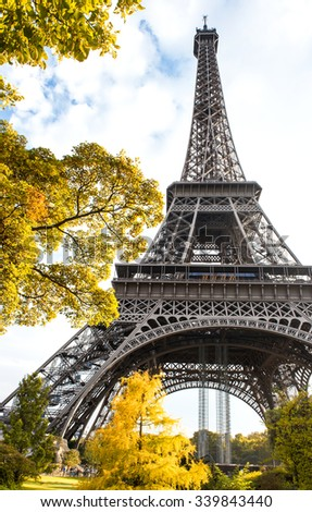 Famous Eiffel Tower in autumn. La tour Eiffel, Paris, France