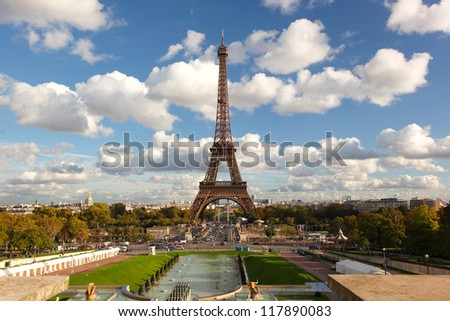 Famous Eiffel Tower in beautiful  day, Paris, France