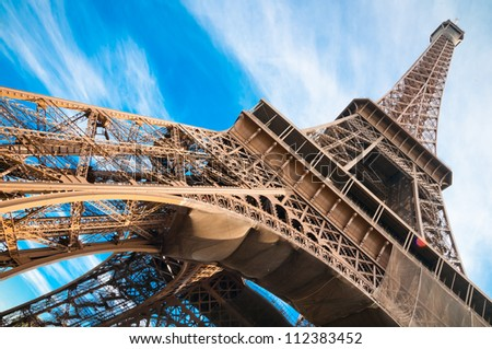 famous Eiffel Tower in Paris France.