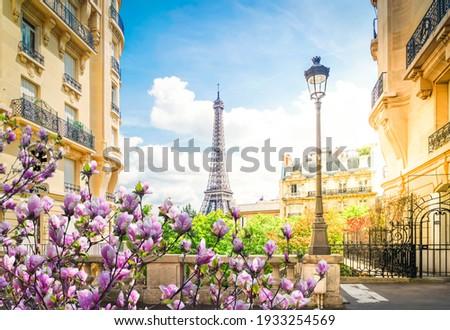 famous Eiffel Tower landmark and Paris city at spring, Paris France with sunshine