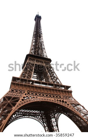 Famous Eiffel Tower of Paris isolated on white - stock photo