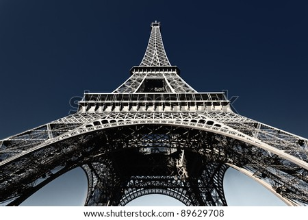 famous Eiffel tower with blue sky in Paris