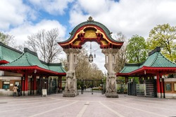 Famous entrance at Zoological garden. Zoo is oldest garden (1844, 35 hectares) in Germany with most comprehensive collection of species in world. Elephant Gate.