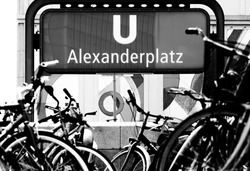 Famous entry poster for subway train in Alexanderplatz Berlin