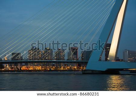 Famous Erasmus bridge of Rotterdam at Night, the Netherlands