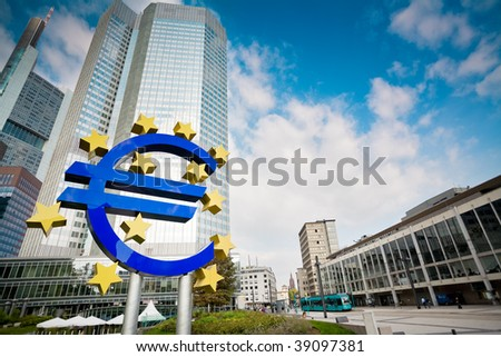 Famous euro sign in Frankfurt am Main wide-angle shot