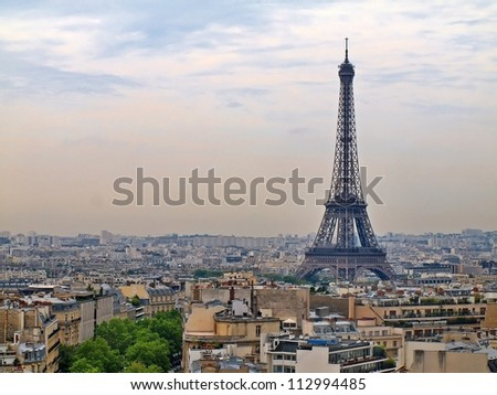 Famous european cities - Paris city objects - Eiffel tower. - stock photo