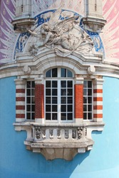 Famous facade with bow-window in Nantes, France