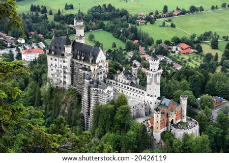 Famous fairytale castle Neuschwanstein of king Ludwig II in Bavaria, Germany. European landmark.