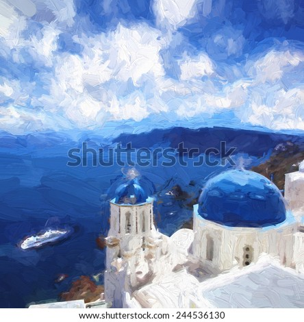 Famous Fira town in Santorini island, Greece, ART STYLE, Oil painting