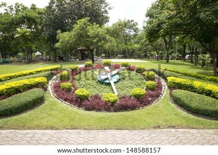 Famous flower clock in the public park.