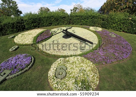 famous flower clock, landmark of Geneva, Switzerland - stock photo