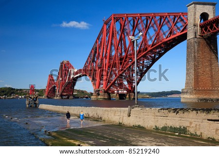 Famous Forth Rail Bridge spanning the Firth of Forth, Edinburgh, capital of Scotland