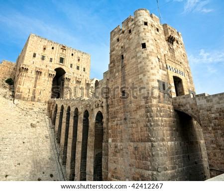 Famous fortress and citadel in Aleppo, Syria. Entrance bridge.